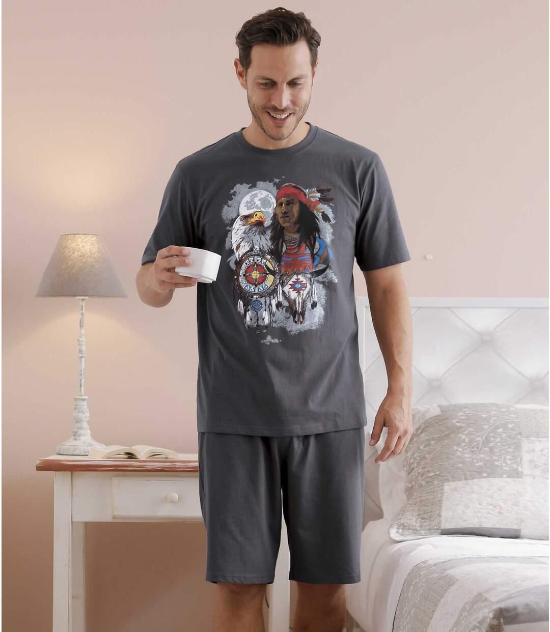 Men's Anthracite Native Spirit Short Pyjama Set