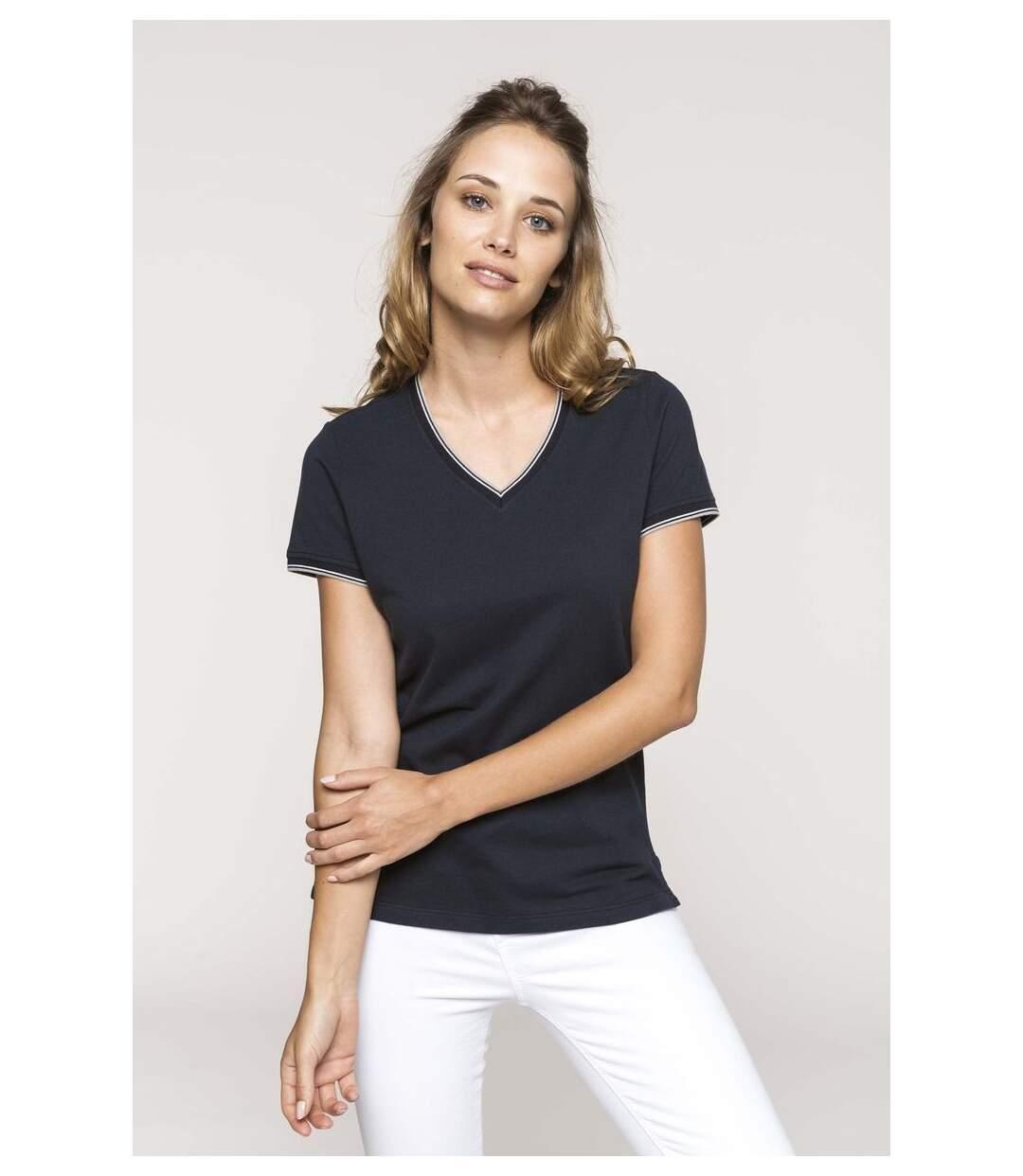 Dégagement T-shirt manches courtes coton piqué col V K394 bleu marine grey femme dsf.d455nksdKLFHG
