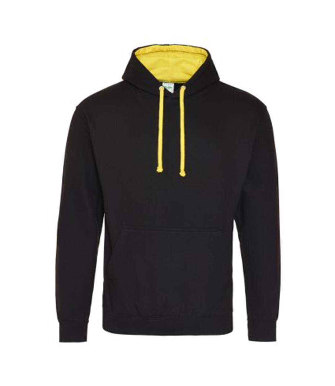 Awdis Varsity Hooded Sweatshirt / Hoodie (Jet Black/ Sun Yellow) - UTRW165
