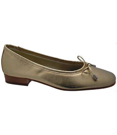 Riva Provence Ladies Leather Ballerina / Womens Shoes (Gold) - UTFS319