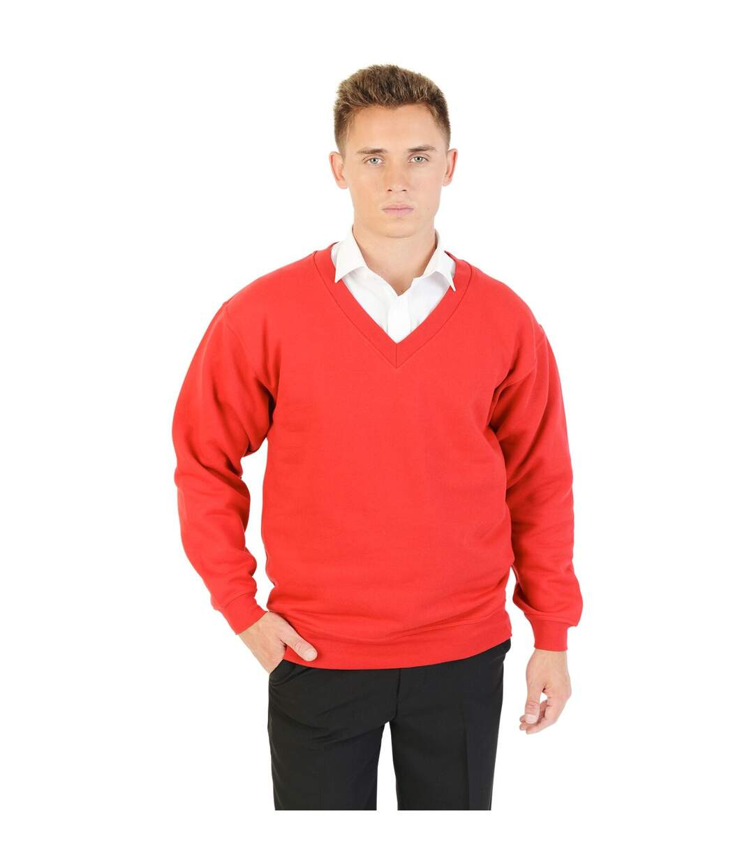 Absolute Apparel Mens V Neck Sweat (Red) - UTAB116