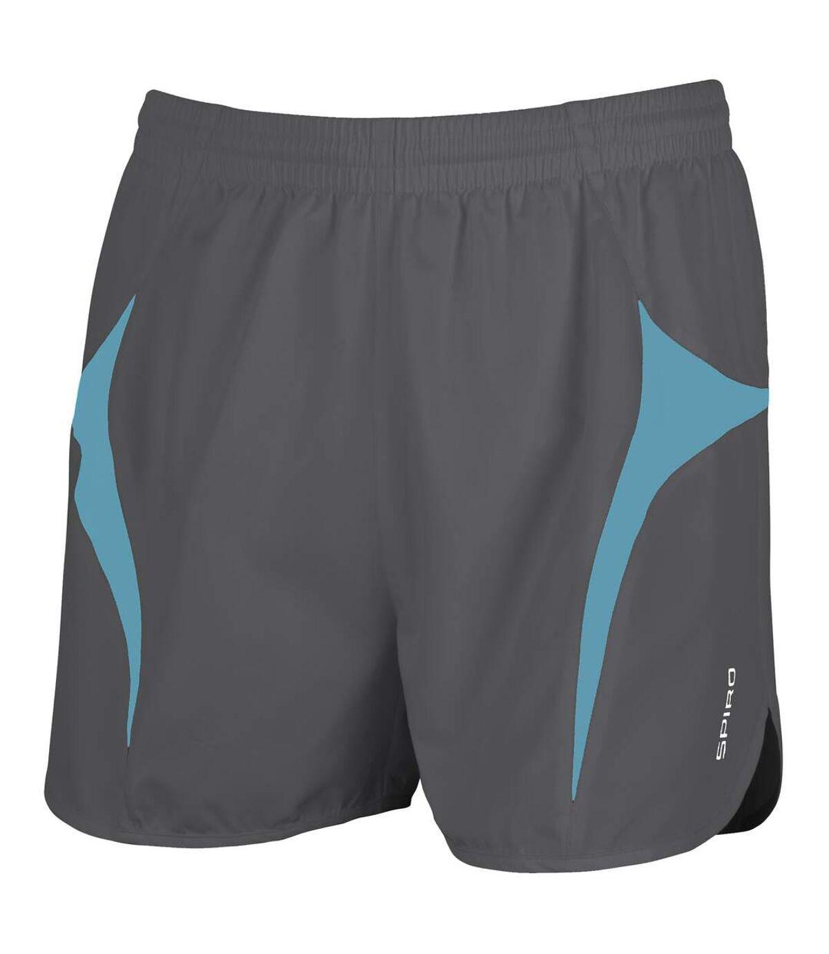 Spiro Mens Sports Micro-Lite Running Shorts (Grey/Aqua) - UTRW1477