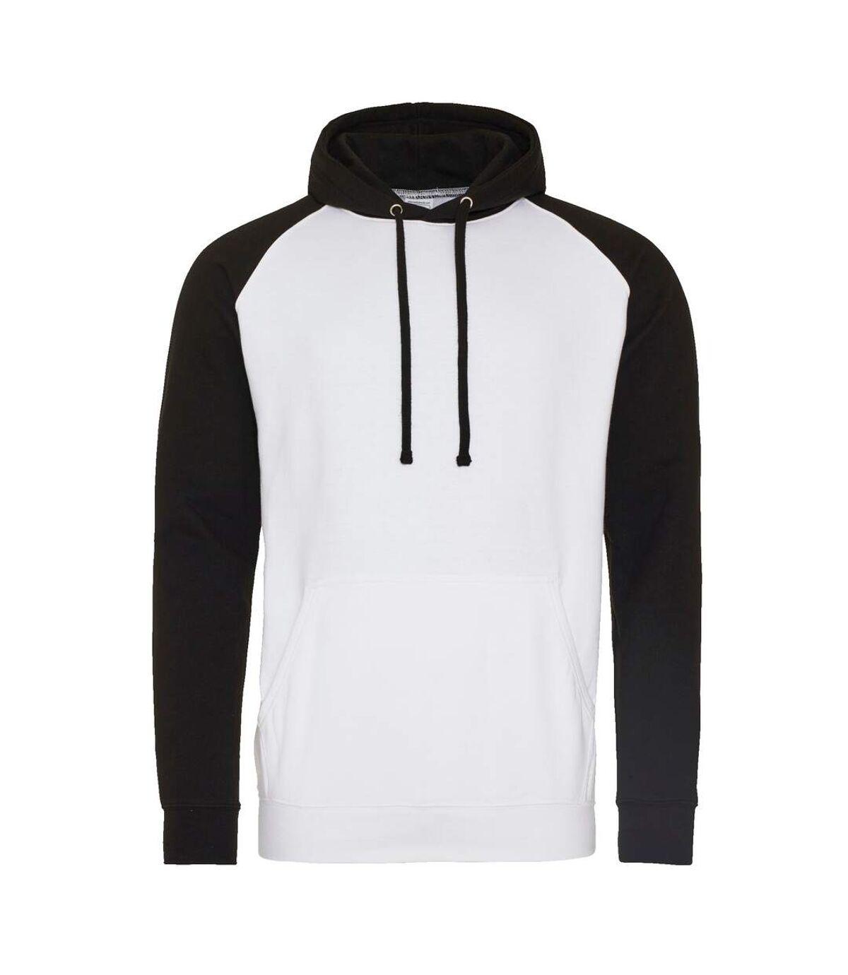 Awdis Just Hoods Adults Unisex Two Tone Hooded Baseball Sweatshirt/Hoodie (Arctic White/ Jet Black) - UTRW3928
