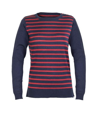 CITOYEN1 PULL COL ROND MARINE/ROUGE