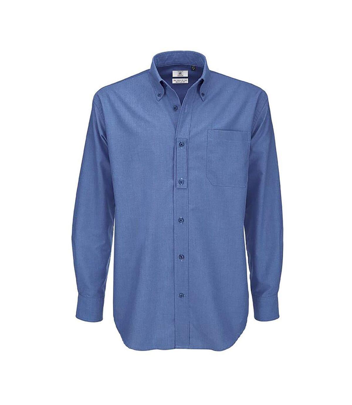 B&C Mens Oxford Long Sleeve Shirt / Mens Shirts (Blue Chip) - UTBC105