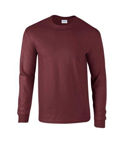 Gildan Mens Plain Crew Neck Ultra Cotton Long Sleeve T-Shirt (Charcoal) - UTBC477