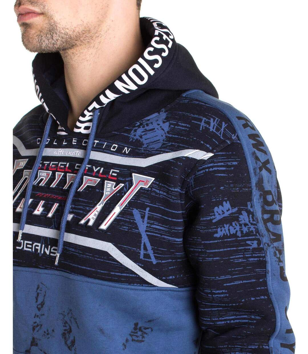 Sweat bleu navy imprimé à capuche et cordons