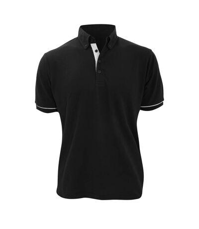 Kustom Kit Mens Button Down Contrast Short Sleeve Polo Shirt (Black/White) - UTBC2687