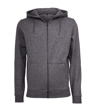 Build Your Brand Mens Heavy Zip Up Hoodie (Charcoal) - UTRW5680
