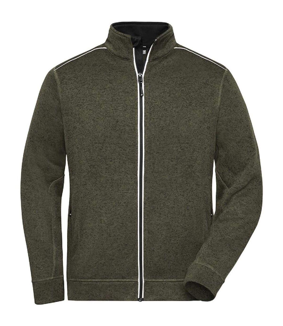 Veste zippée polaire workwear GRANDES TAILLES - homme - JN898C - vert olive