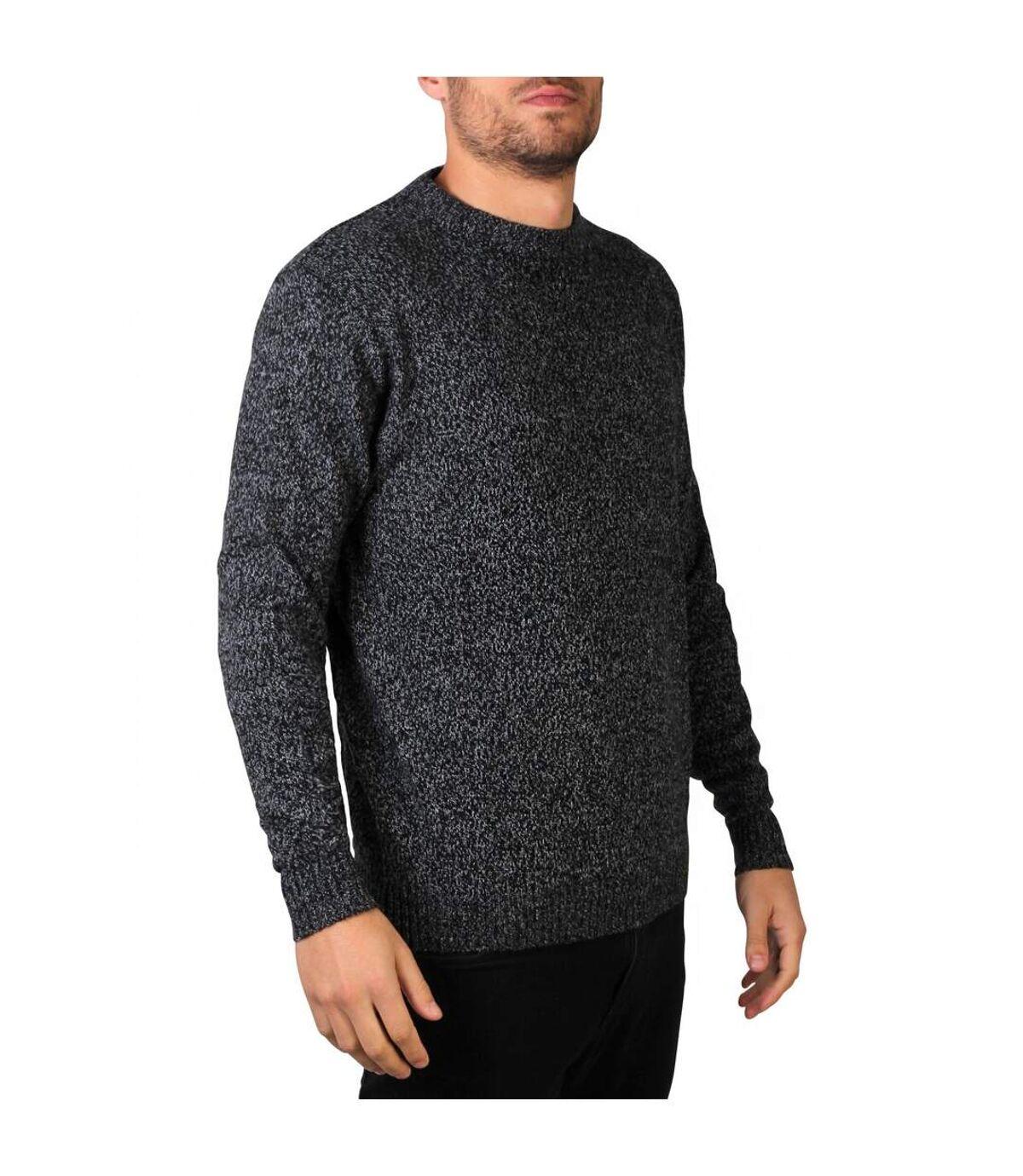 Krisp Pull à col ras du cou rond en tricot pour hommes (Noir) - UTKP137