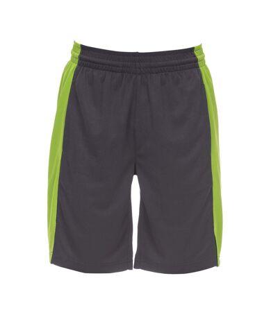 AWDis Just Cool Mens Panel Shorts (Charcoal/Lime) - UTPC2966