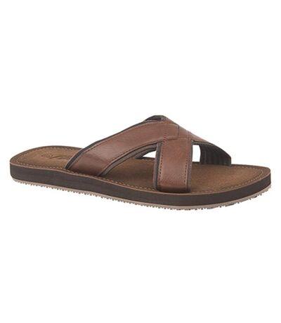 PDQ Mens Lightweight Crossover Mule Sandals (Brown) - UTDF1371