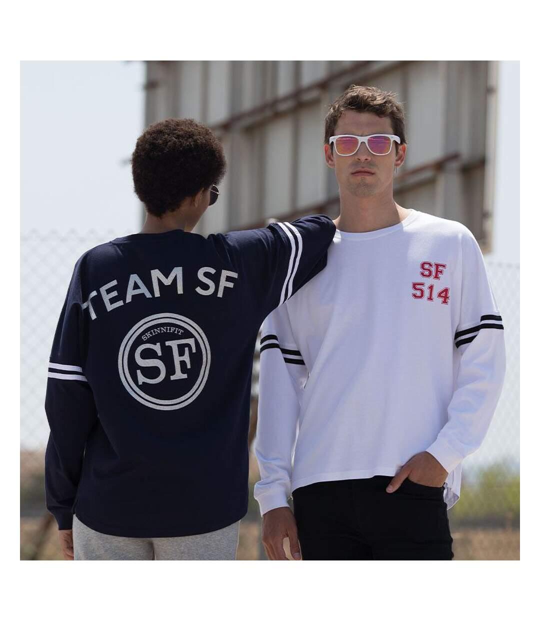 Skinnifit Mens Drop Shoulder Slogan Top (Oxford Navy / White Stripes) - UTRW4747