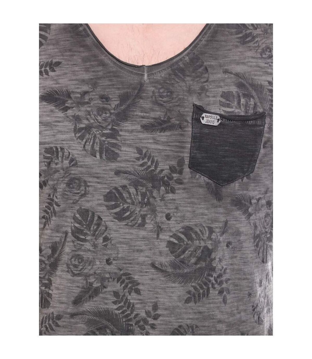 T-shirt col V manches longues pur coton motif floral KJ JANO - KAPSULE