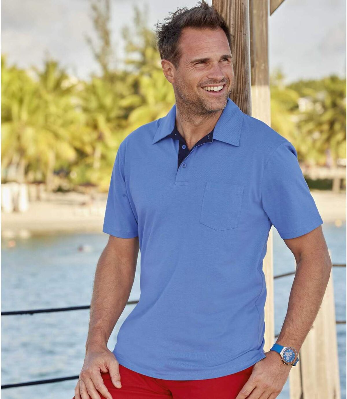 Pack of 3 Men's Classic Polo Shirts - Blue Red Off-White Atlas For Men
