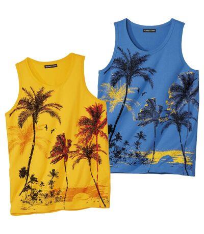 Pack of 2 Men's Summer Tank Tops - Blue Yellow