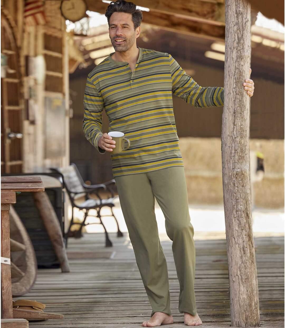 Men's Striped Khaki Pyjama Set Atlas For Men