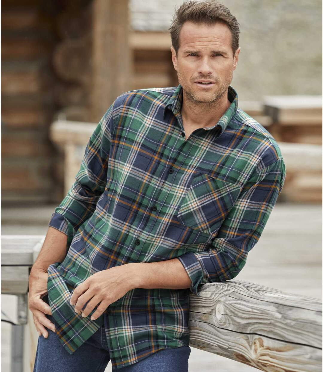 Men's Green Checked Flannel Shirt
