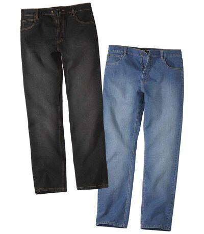 Pack of 2 Men's Regular Stretch Jeans - Black Blue