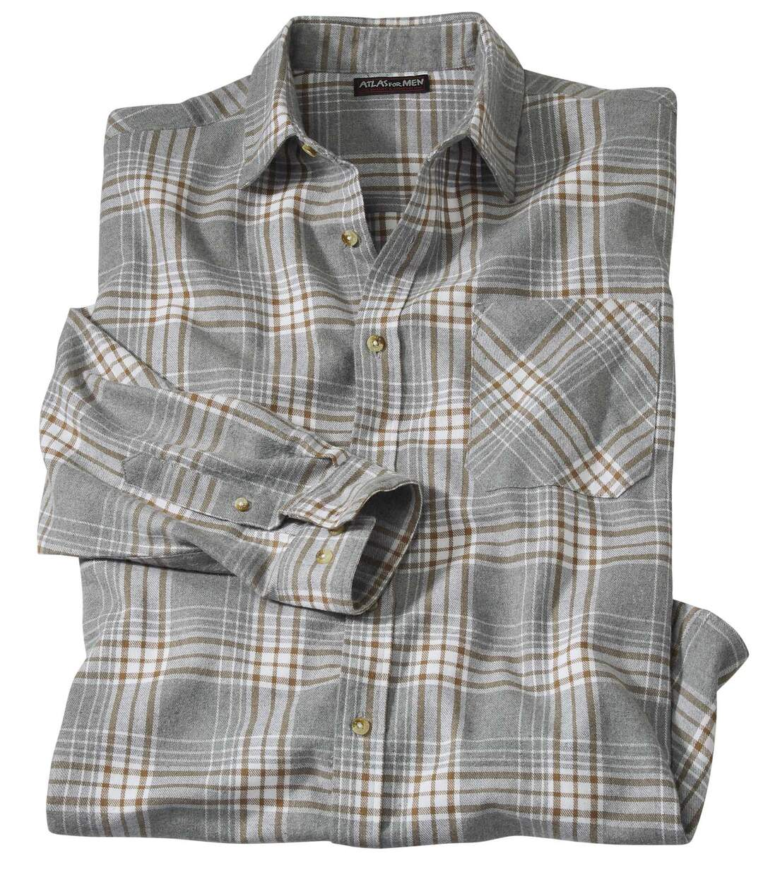 Flanelowa szara koszula w kratę