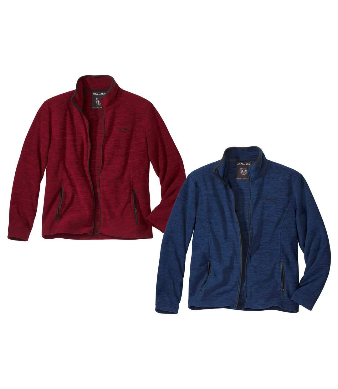 Pack of 2 Men's Mottled Microfleece Jackets - Blue Red