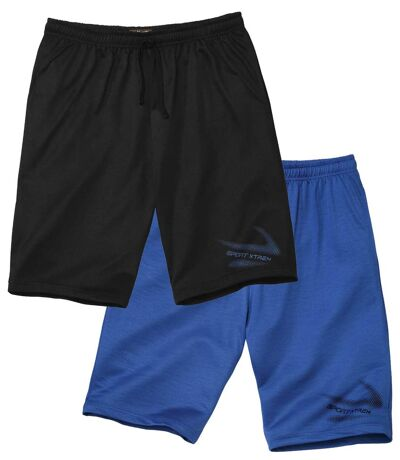 Pack of 2 Men's Casual Jersey Shorts - Black Blue