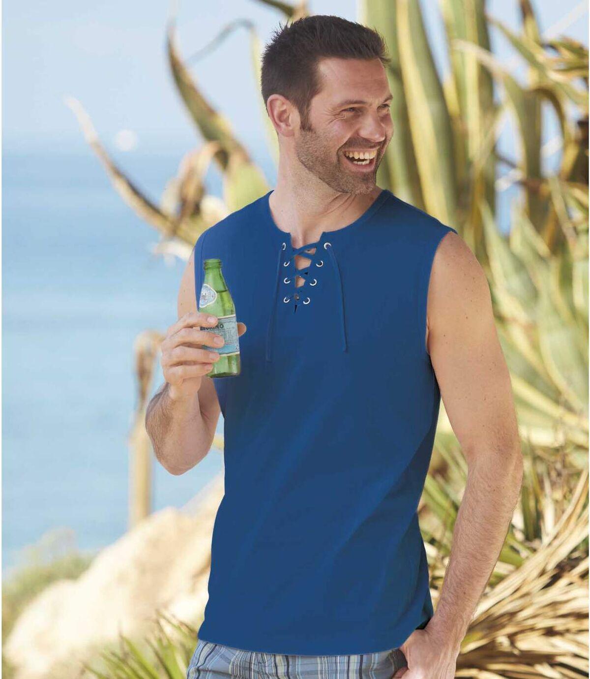 Zestaw 2 t-shirtów  bez rękawów i z wiązanym dekoltem Sea-Side Atlas For Men