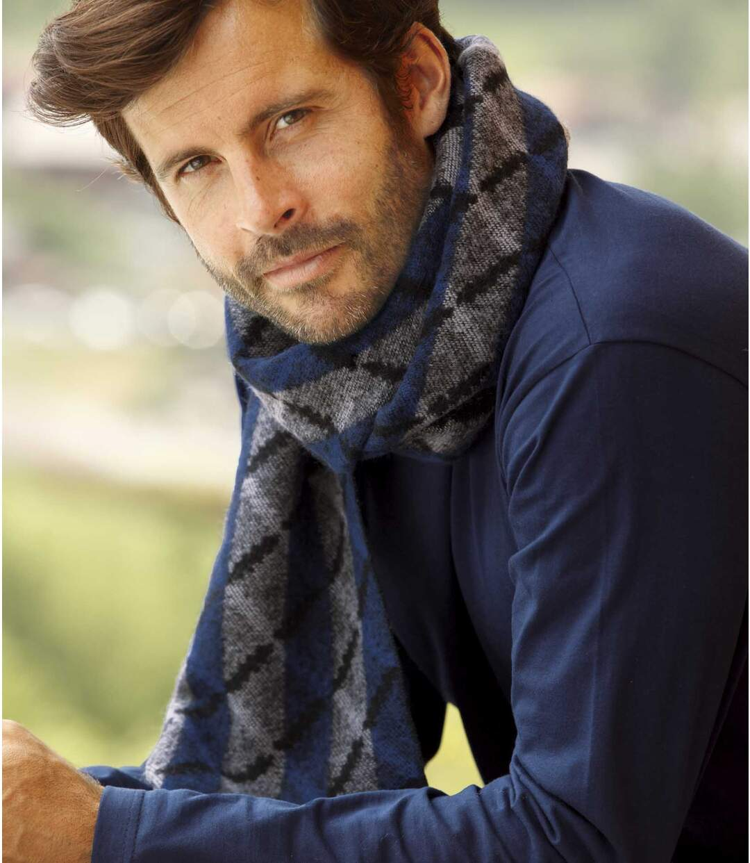 Men's Striped Knit Scarf - Blue Grey Black