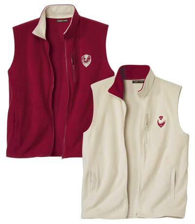 Pack of 2 Men's Microfleece Vests - Full Zip - Beige Burgundy