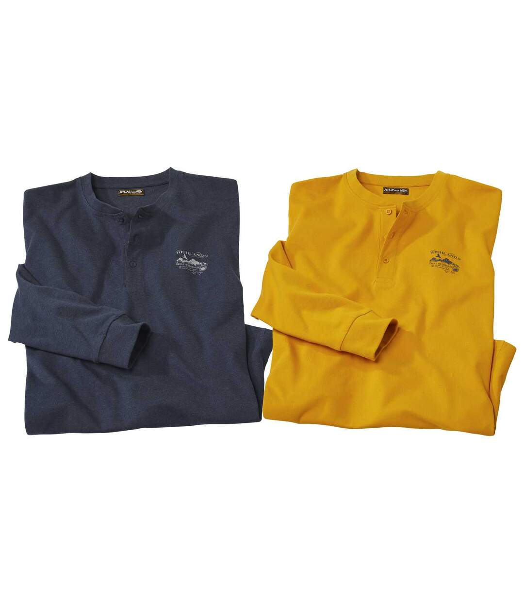 Pack of 2 Men's Highland Button-Neck Tops - Navy Yellow