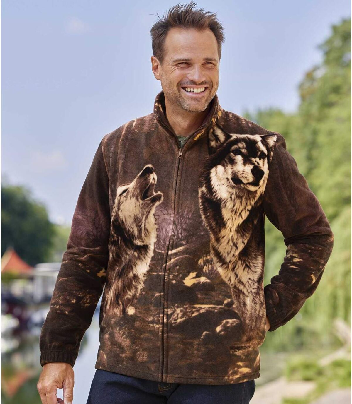 Farkas mintás cipzáras polár pulóver Atlas For Men