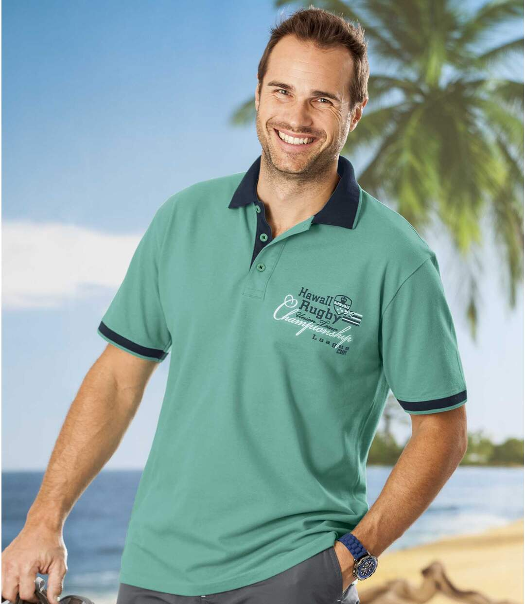 Men's Green Rugby Polo Shirt