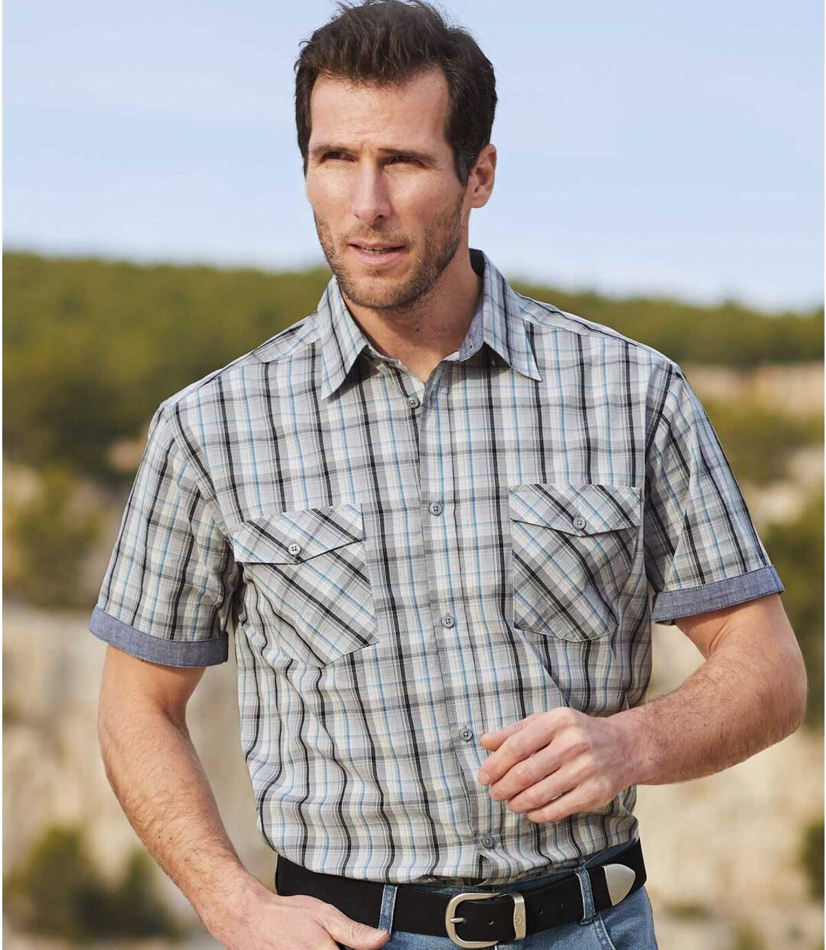 Men's Checked Short-Sleeved Chambray Shirt - Blue Gray Atlas For Men