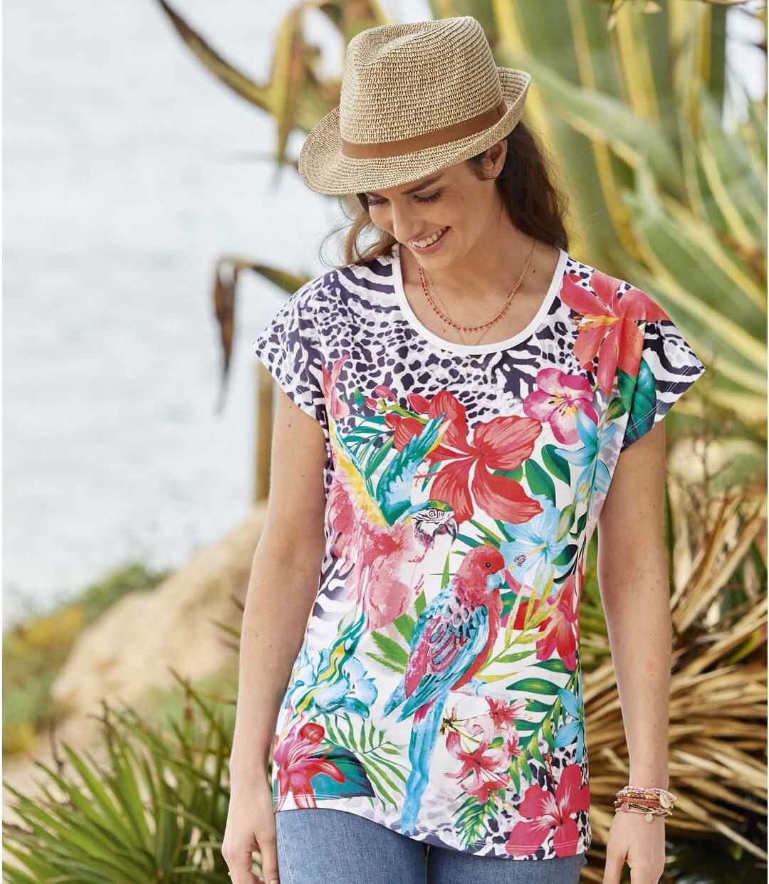 Women's Exotic Flowers T-Shirt - Multi-Coloured