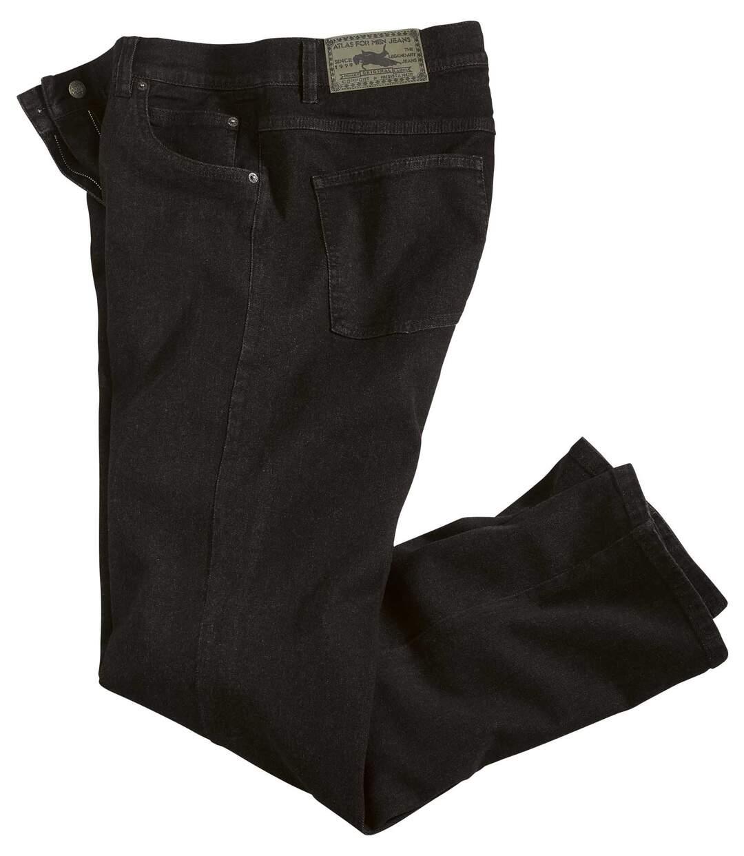 Schwarze Regular-Jeans mit Stretch-Effekt