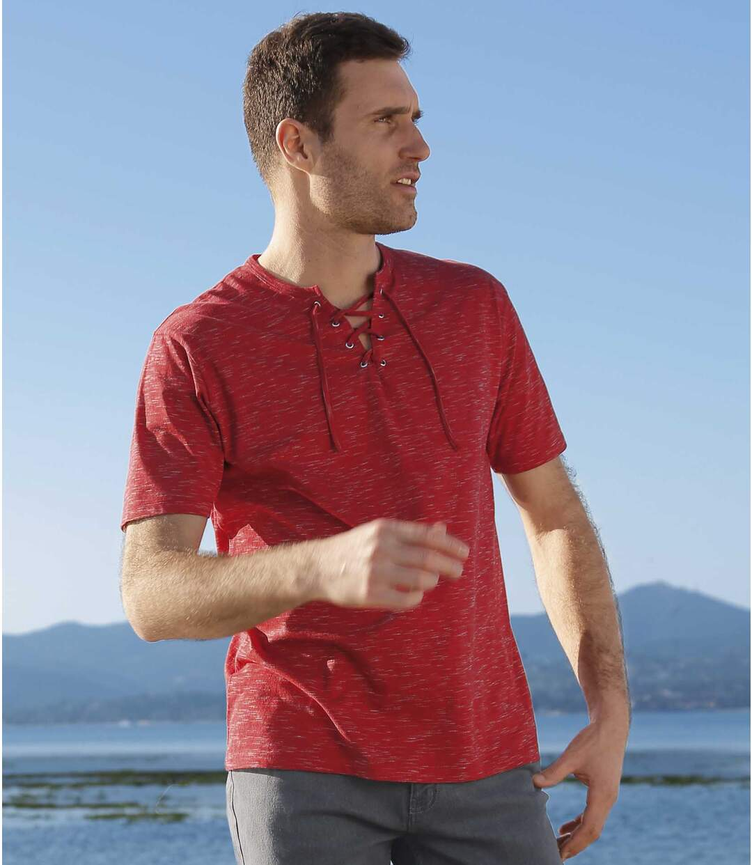 Pack of 2 Men's Lace-Up T-Shirts - Ecru Red