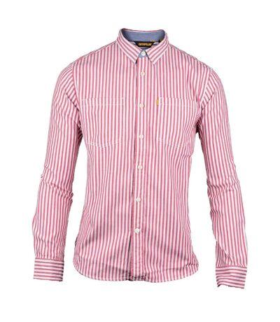CAT Lifestyle Mens C2611092 M Street Long Sleeve Striped Shirt (Red) - UTFS3768