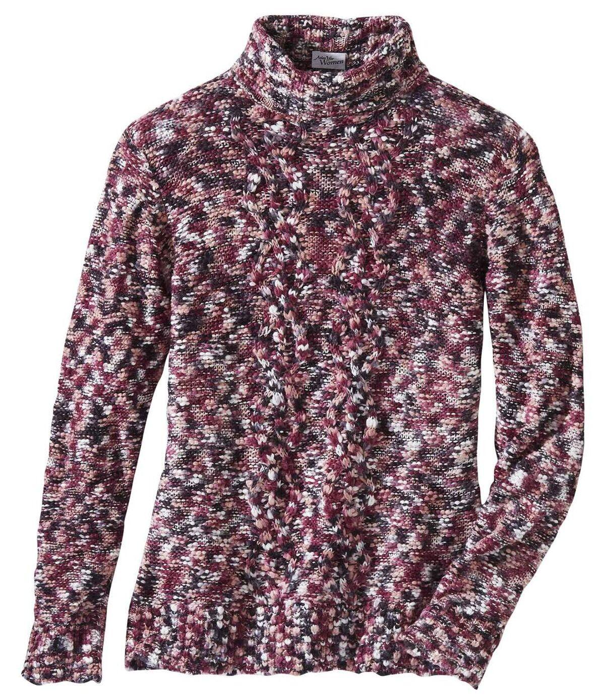 Foltos hatású garbónyakú kötött pulóver Atlas For Men