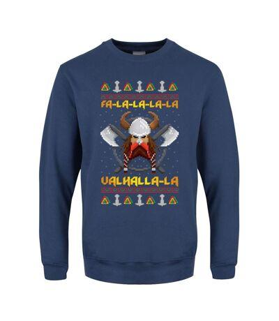 Grindstore Mens Viking Valhalla Christmas Jumper (Airforce Blue) - UTGR3042
