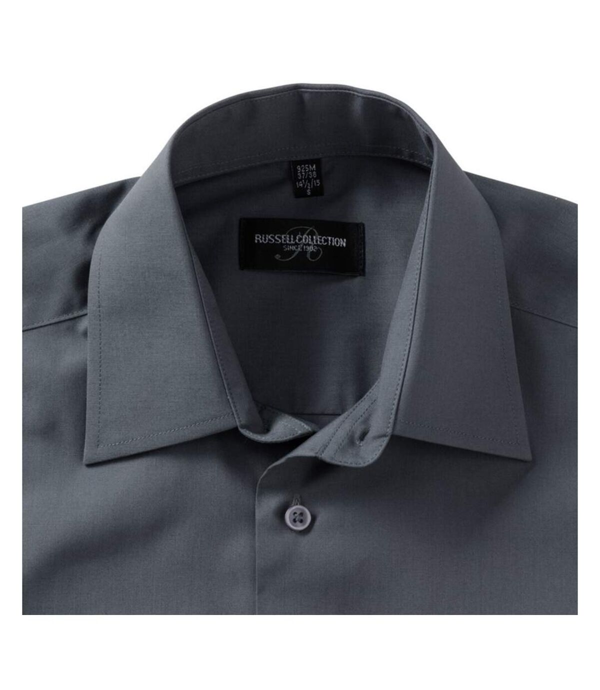 Russell Collection Mens Short Sleeve Poly-Cotton Easy Care Poplin Shirt (Convoy Grey) - UTBC1029