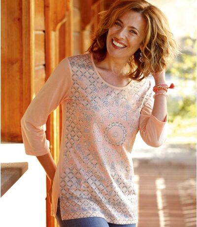 Women's Pink Loose Top - Three Quarter Sleeve