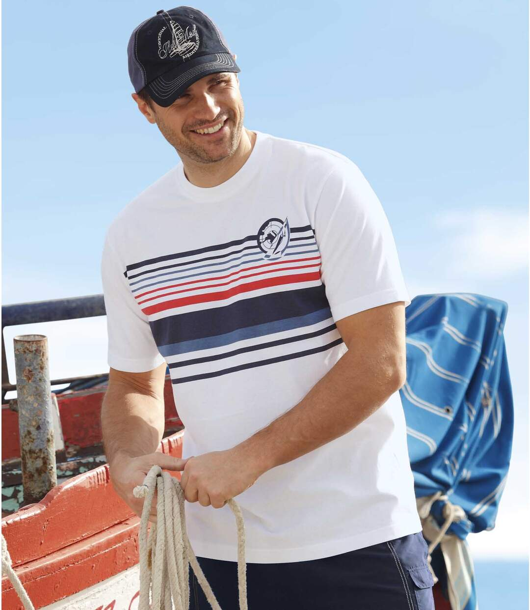Pack of 2 Men's Cyclades T-Shirts - White Navy
