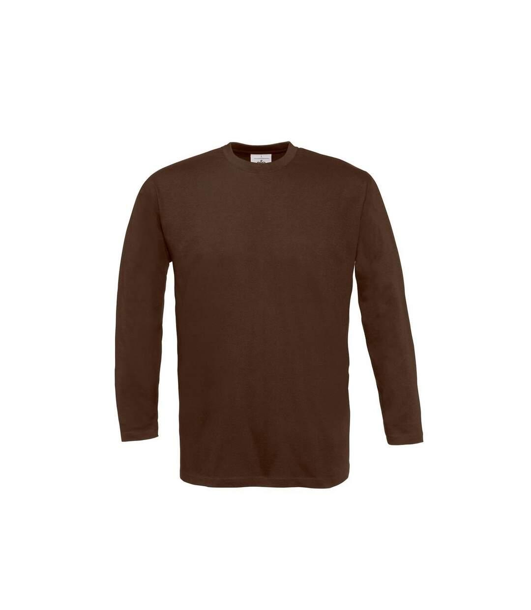 B&C Mens Exact Plain Long Sleeve Crew Neck T-Shirt (Brown) - UTRW3507