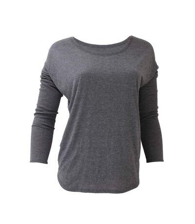 Bella Ladies/Womens Long Sleeve Flowy 2x1 T-Shirt (Black) - UTBC1328