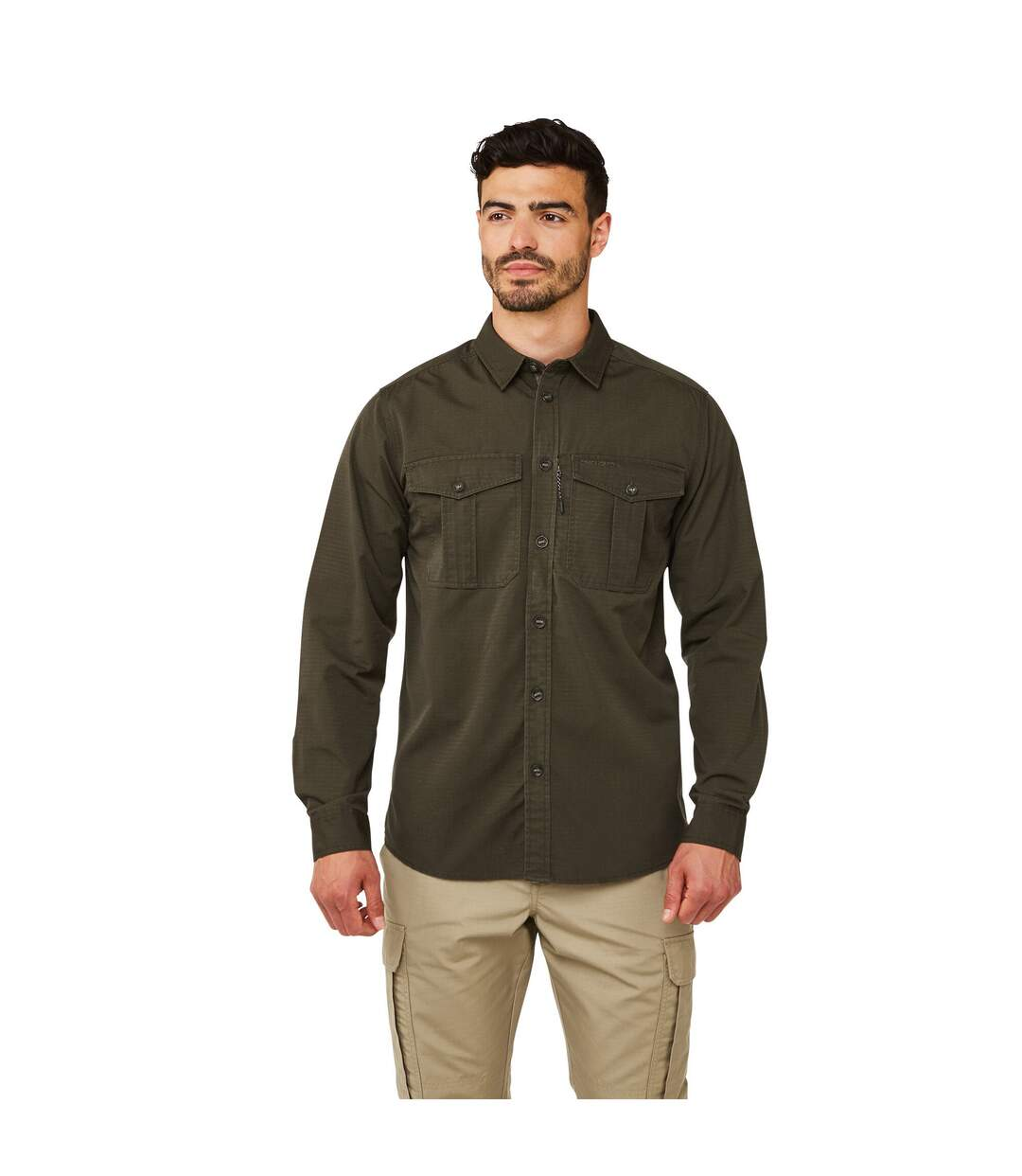 Craghoppers Mens Kiwi Ripstop Long Sleeve Shirt (Woodland Green) - UTCG1217