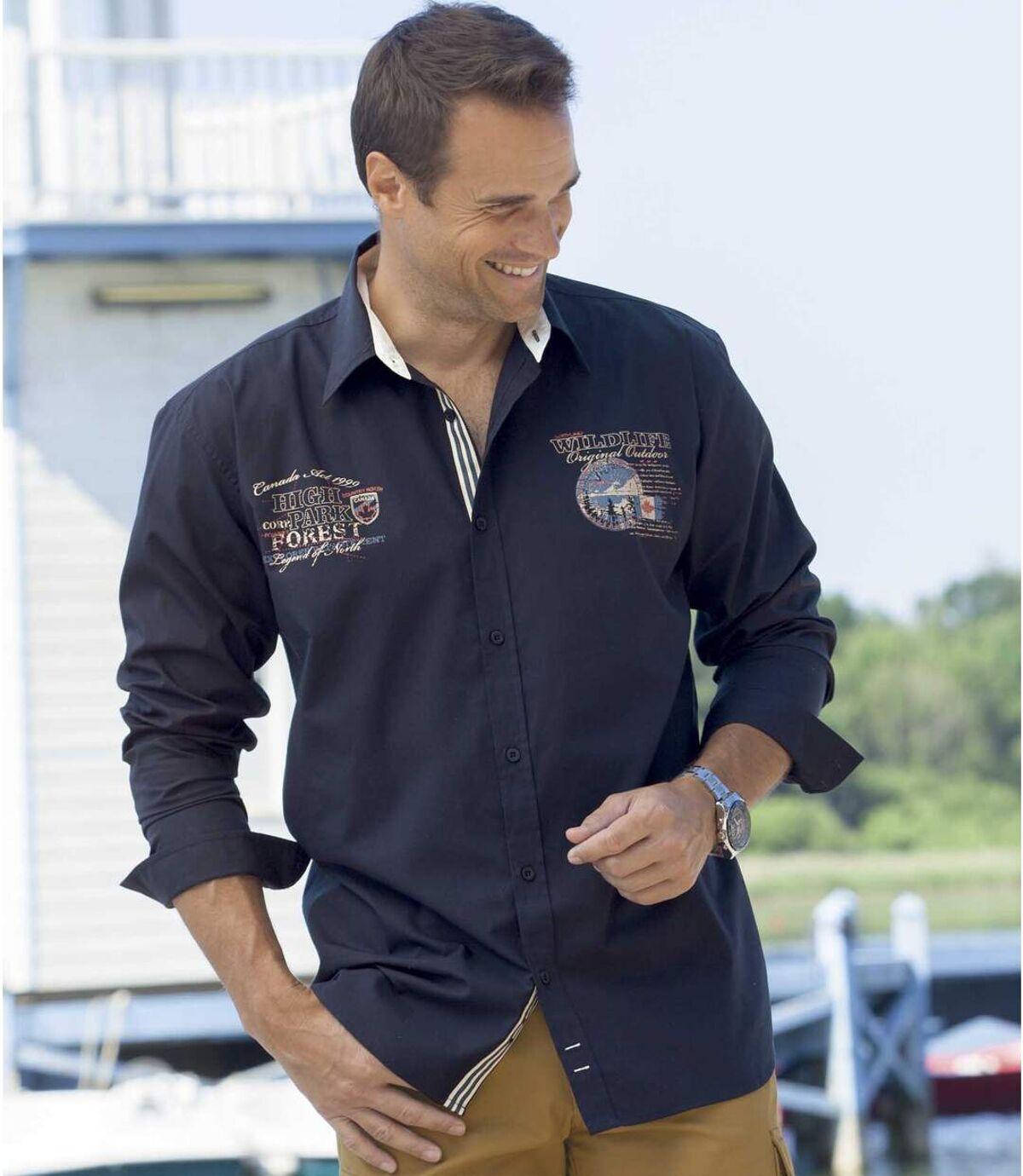 Marineblauw overhemd van popeline Atlas For Men