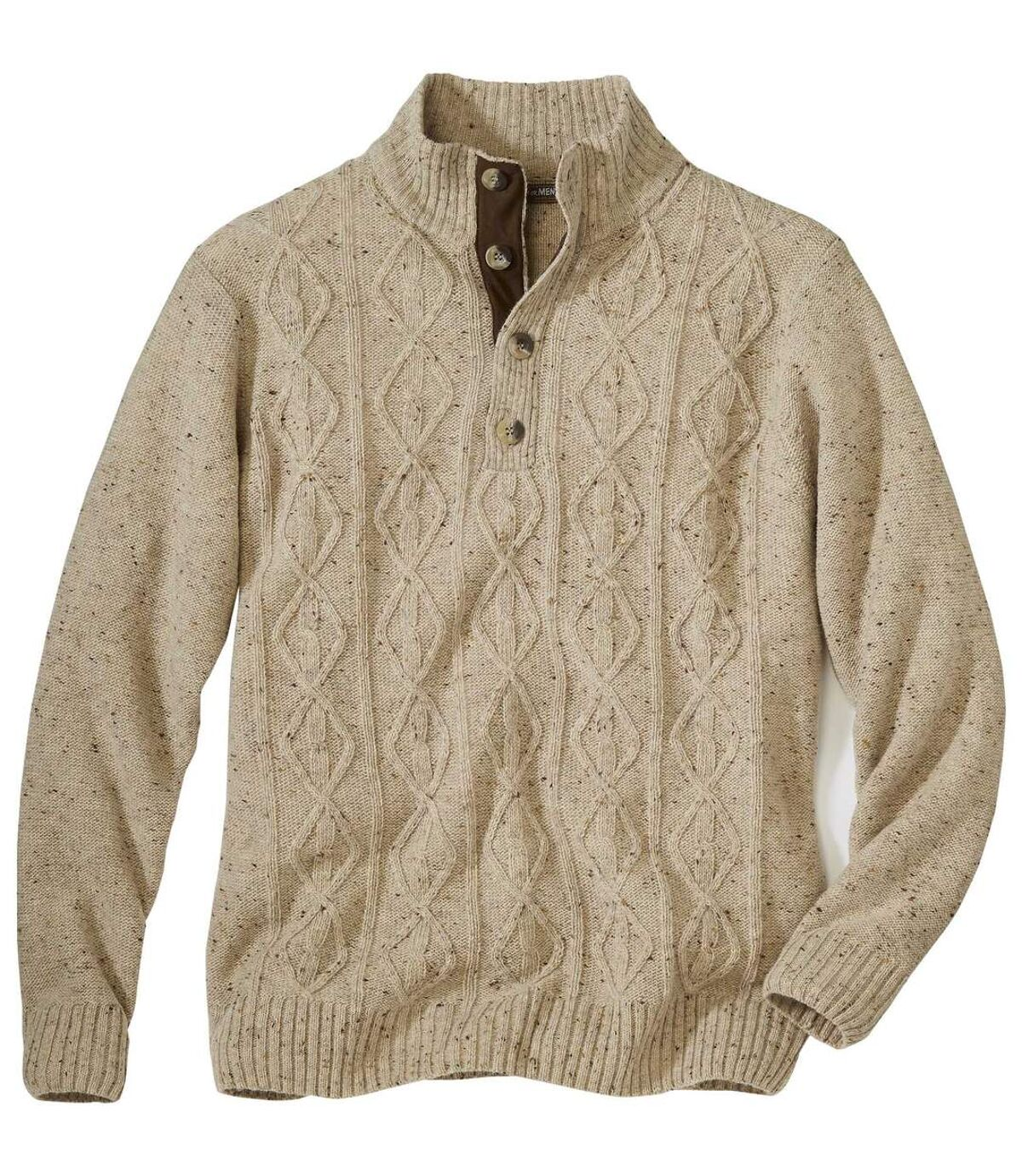 Bézs, gombos nyakú kötött pulóver Atlas For Men