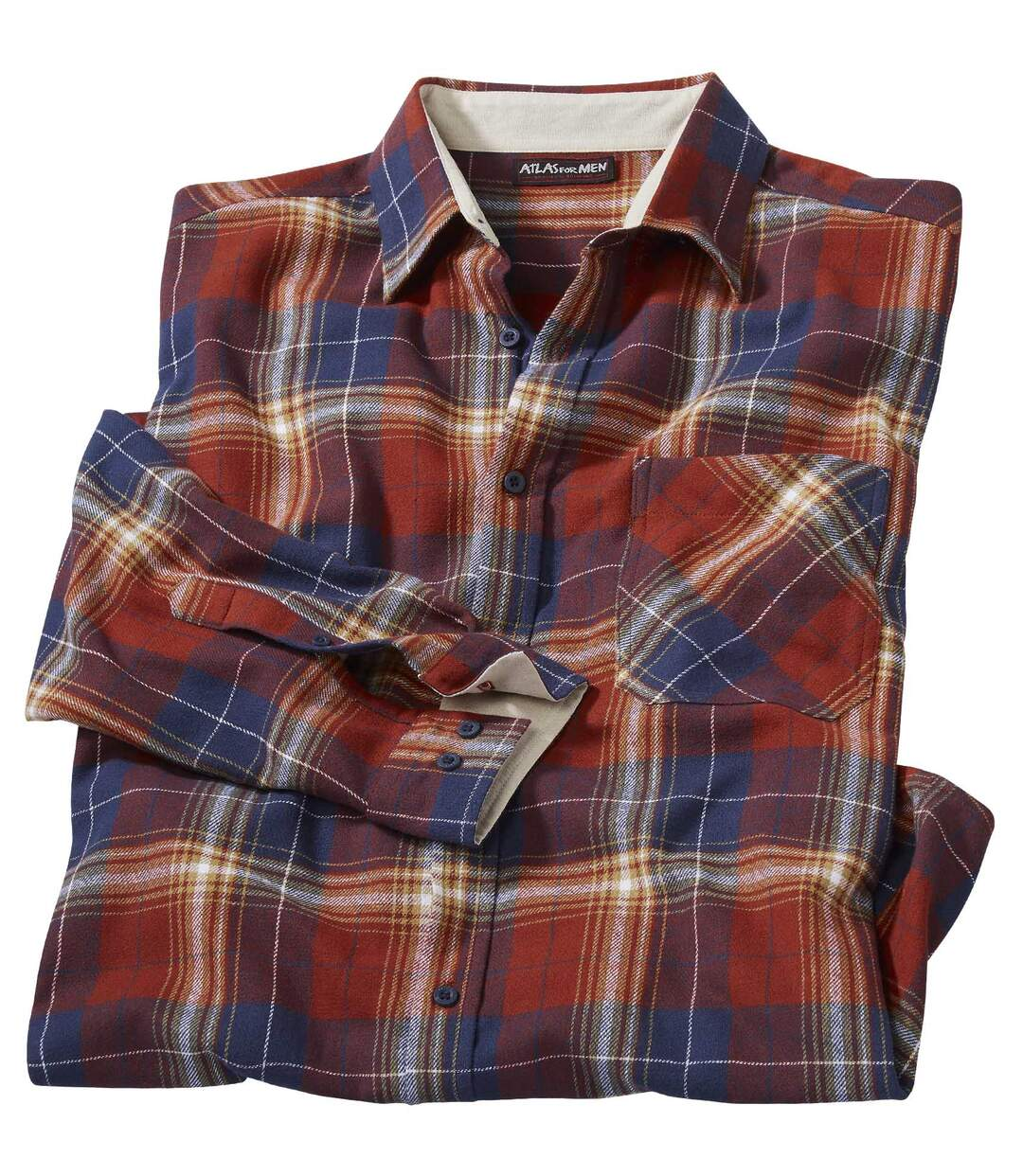 Men's Checked Flannel Shirt – Red Blue Beige