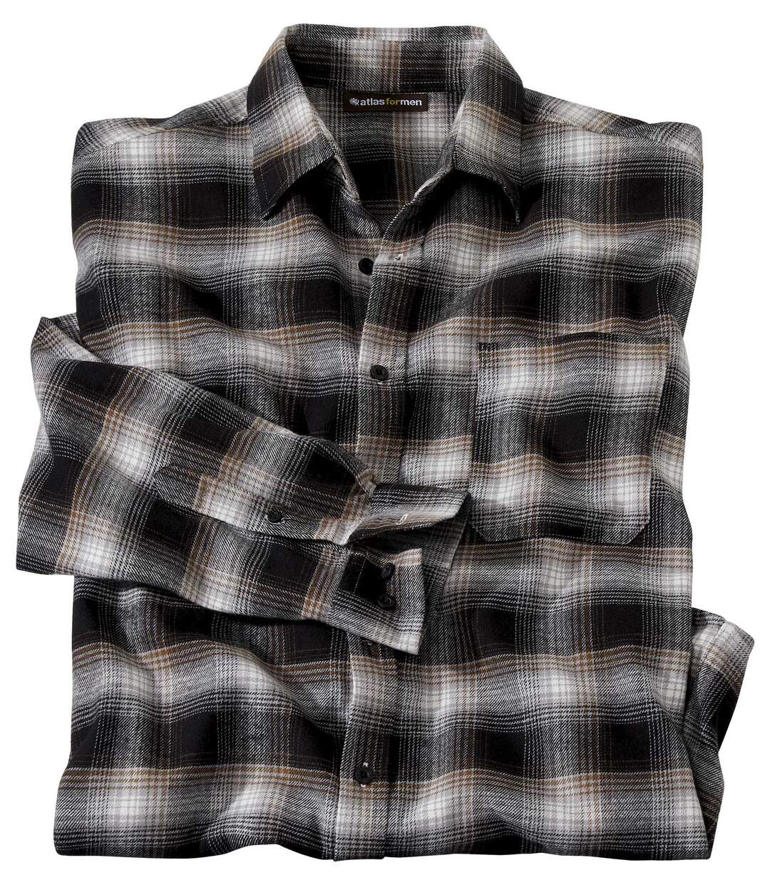 Men's Black Checked Flannel Shirt